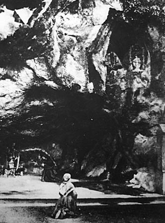 Bernadette at the grotto, 1862